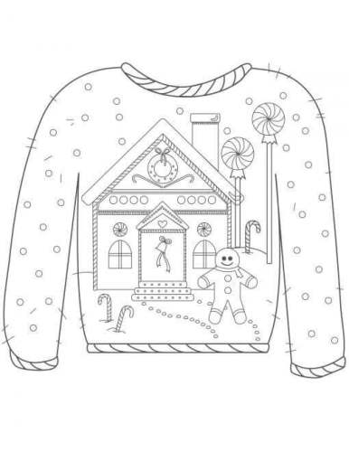 Christmas Sweater With With Gingerbread man Print Coloring Page