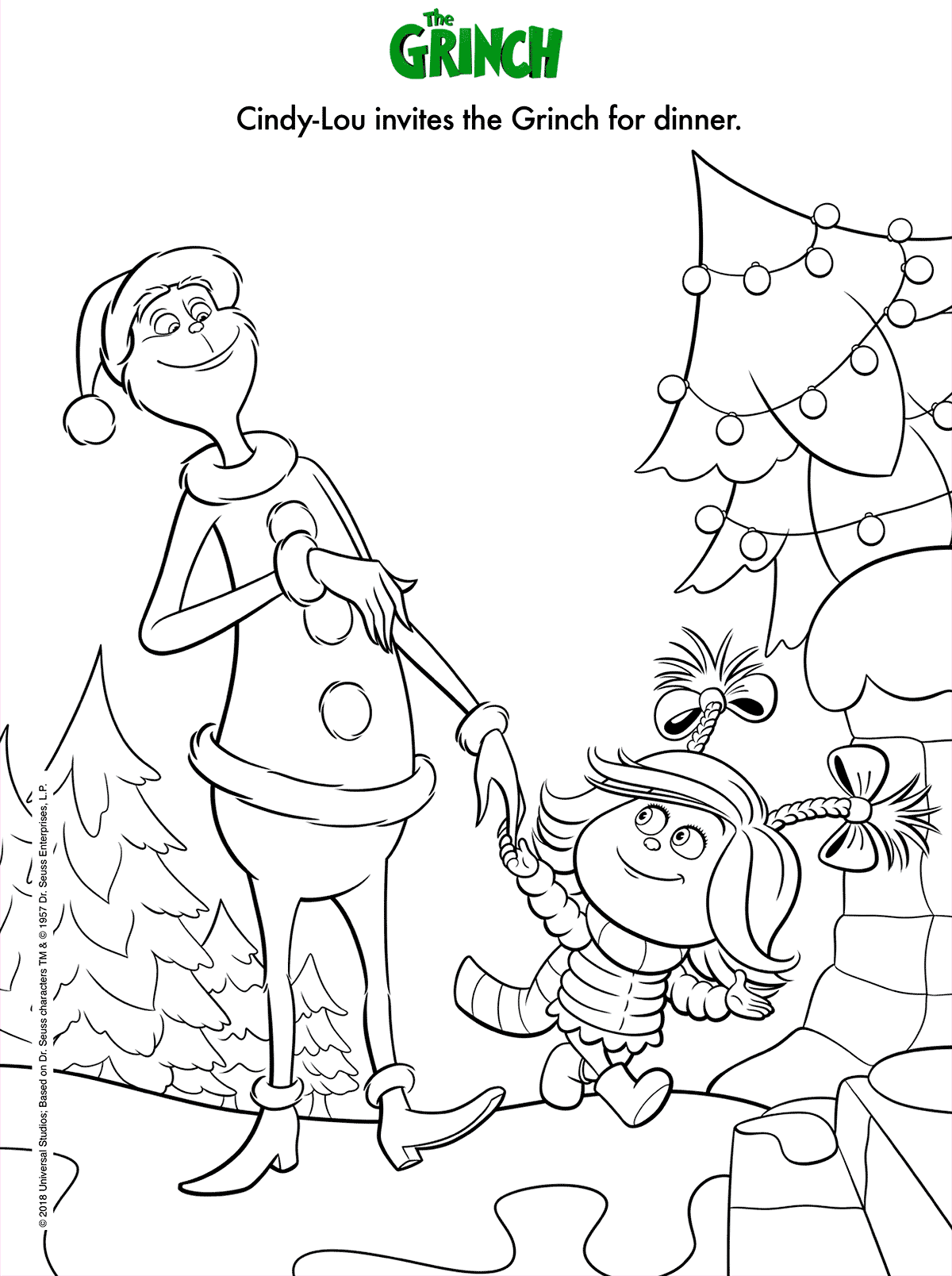 Dr Seuss The Grinch Film Coloring Page