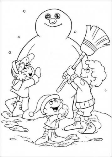 Kids Making Frosty Snowman Coloring Picture