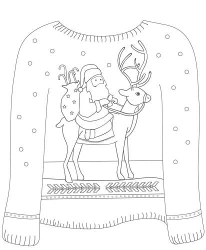 Santa With Reindeer Christmas Sweater Coloring Image