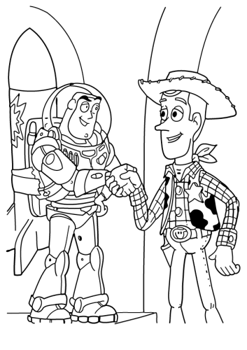 Buzz And Woody From Toy Story Coloring Page