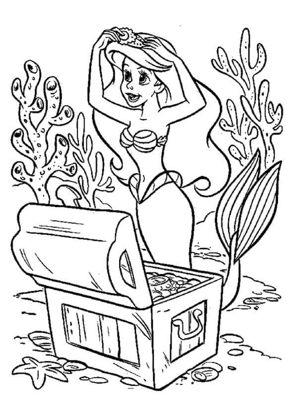 Little Mermaid With A Treasure Chest