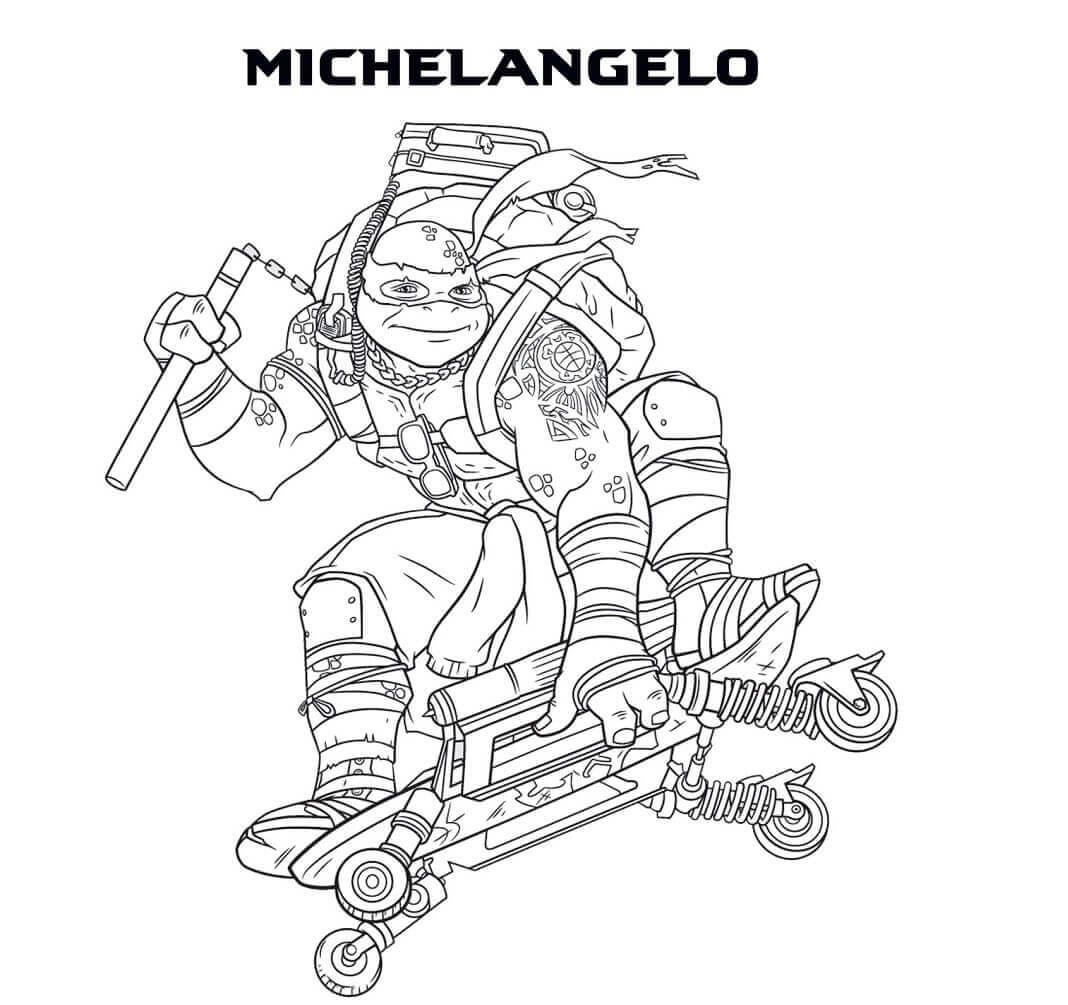 Michelangelo Teenage Mutant Ninja Turtles Coloring Page