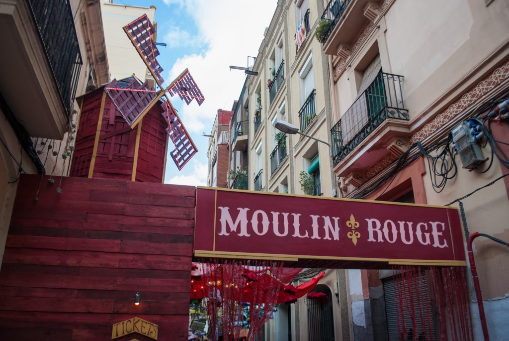 A Moulin Rouge-themed street