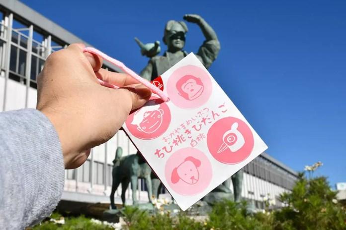Okayama Momotaro Statue and Packaging