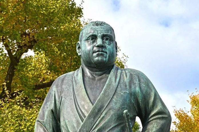 Saigo Takamori Statue in Ueno Park, Tokyo.