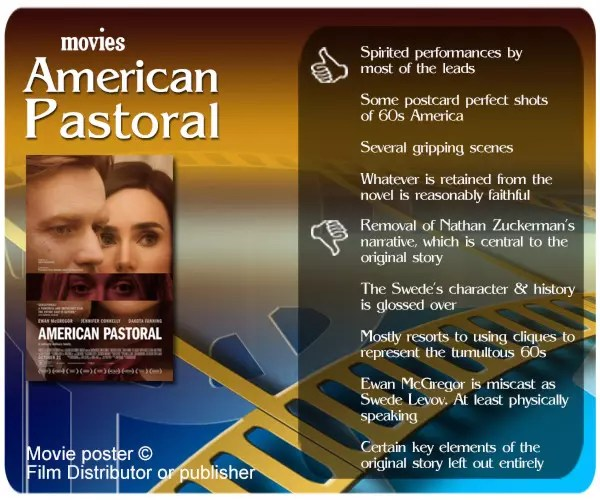 American Pastoral movie review. 4 thumbs up and 5 thumbs down.