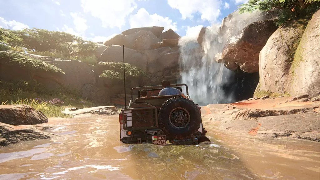 Waterfall Driving in Uncharted 4 - A Thief's End.