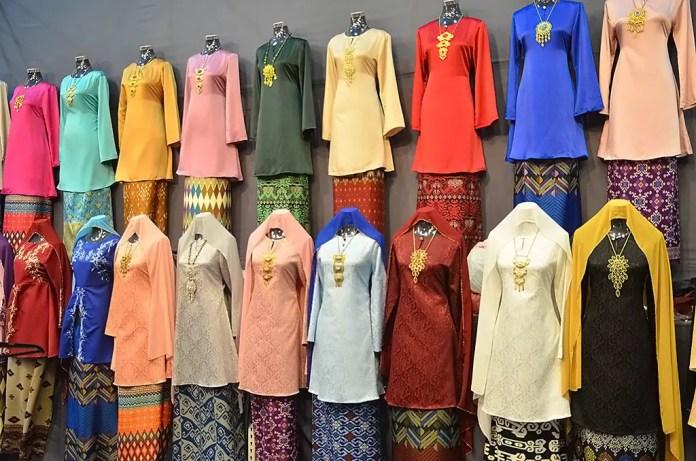 Colourful Baju Kurung on sale at Geylang Serai Festive Bazaar.