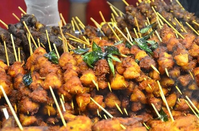 Deep Fried Skewered meats at Geylang Serai Ramadan Bazaar 2017.