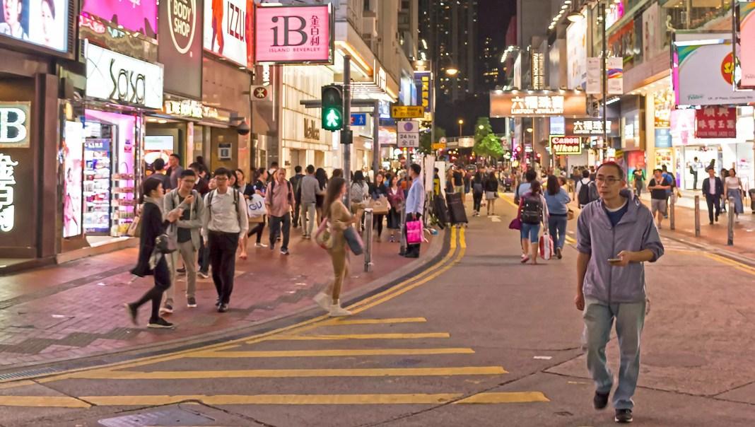 Lockhart Road, Causeway Bay at night.