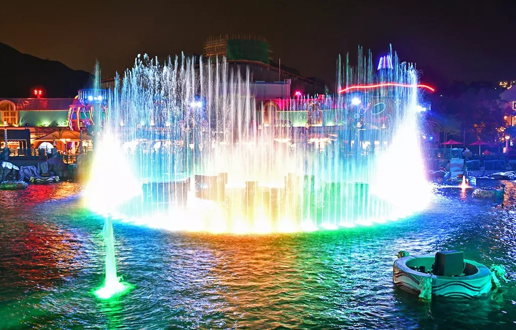 Ocean Park Aqua City Lagoon at Night.
