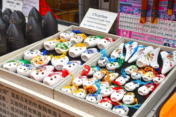 Ocarinas on sale at Chinatown Festive Street Bazaar 2018.
