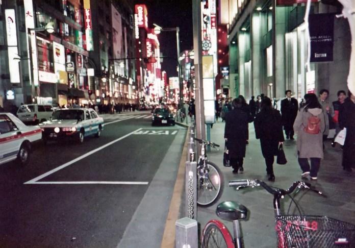 Nighttime Shinjuku in 1998.