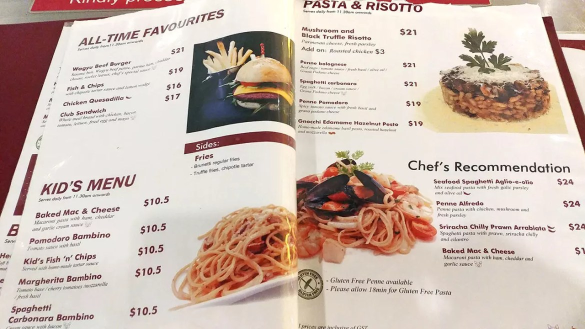 Brunetti Tanglin Mall Menu