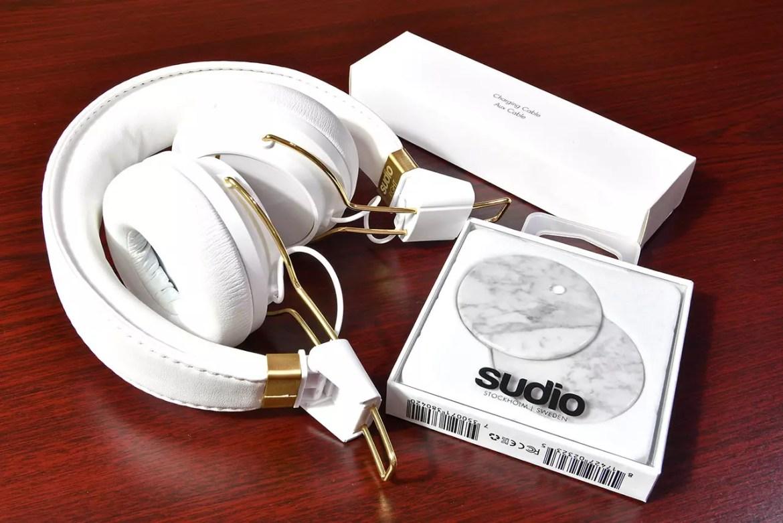 Sudio Regent Headphones with cable and interchangeable caps.