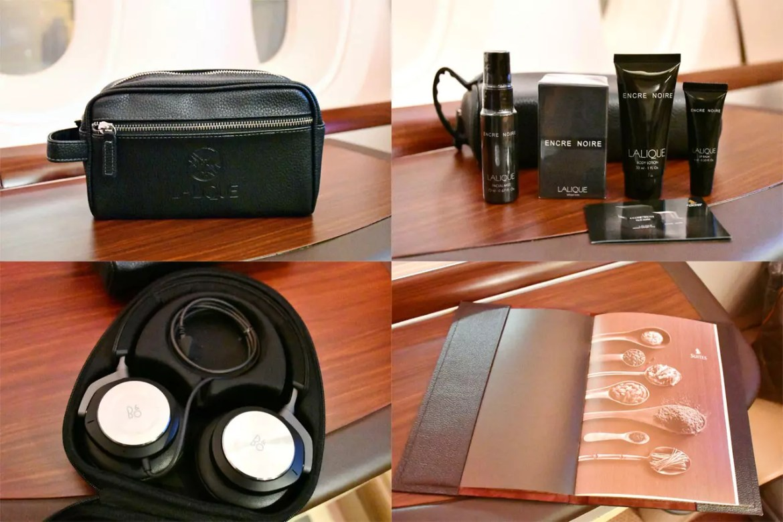 Singapore Airlines Suites Class Amenity Kit, Headphones, and Menu