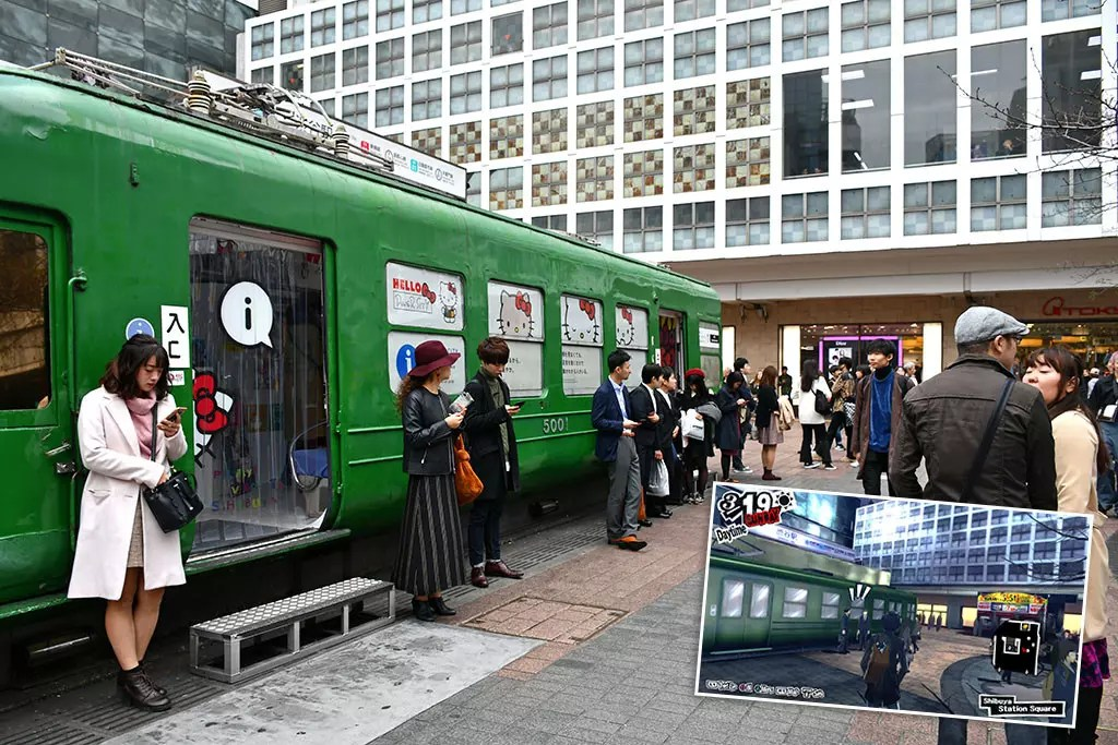 Persona 5 Shibuya Sights | Shibuya Station Hachikō-mae Square Tram