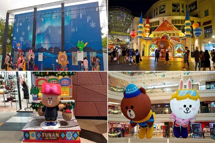 Line Mascots Themed Christmas Decorations at CapitalLand Malls, Singapore.