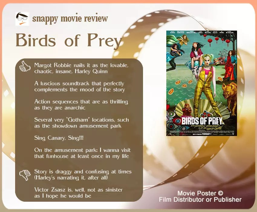 Birds of Prey Movie Review: 6 thumbs-up and 2 thumbs-down.