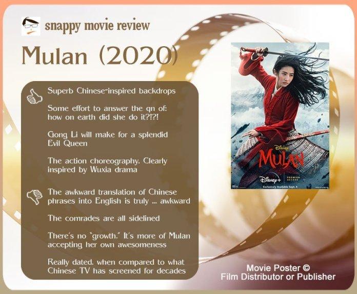 Mulan (2020) Review: 4 thumbs-up and 4 thumbs-down.