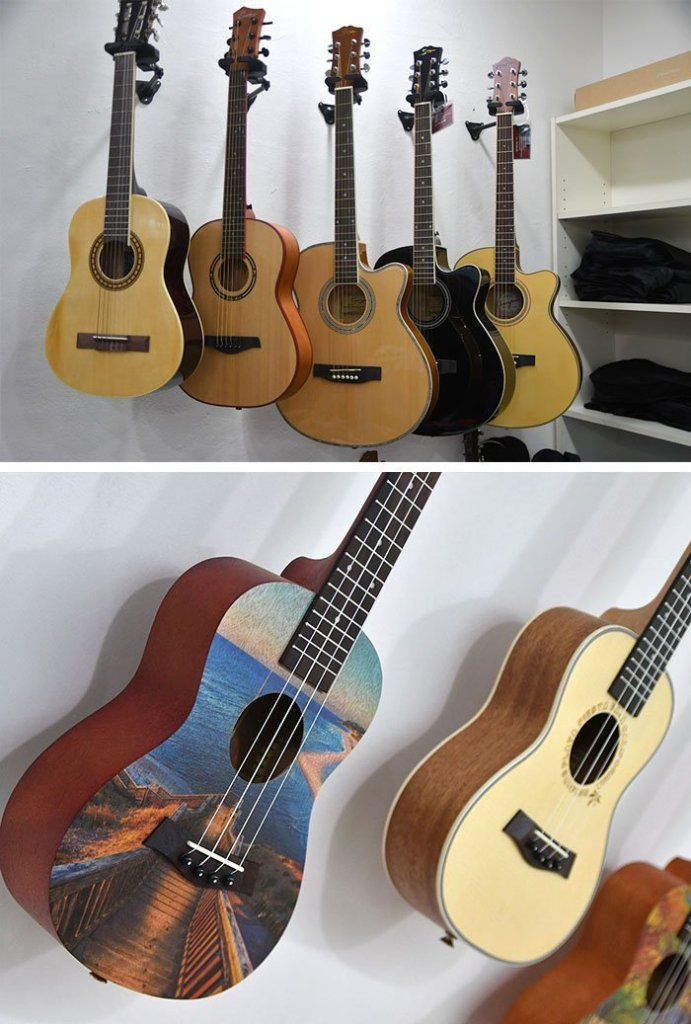 The Sixth String guitars and ukelele.