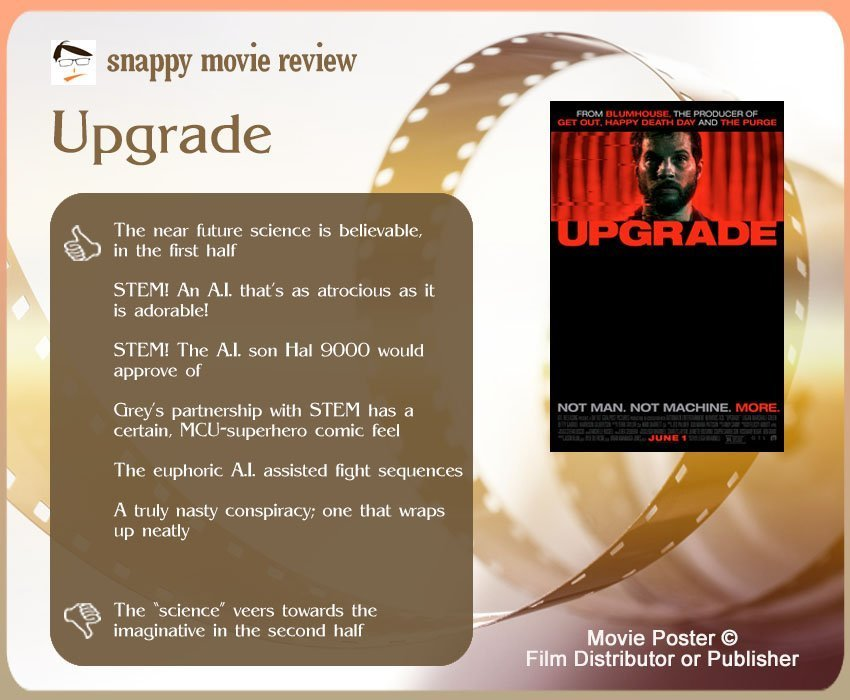 Upgrade (2018) review: 6 thumbs-up and 1 thumbs-down.