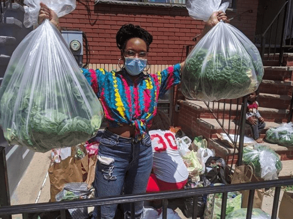 Sevonna Brown with all the donations coming in for Black Womens Blueprint. Photo from Instagram.