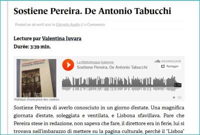 Le début de Sostiene Pereira d'Antonio Tabucchi lu par Valentina Iuvara.