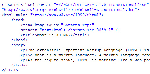 An example of XHTML code for a web page document