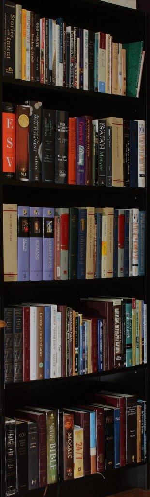 Library bookshelf of Christian books