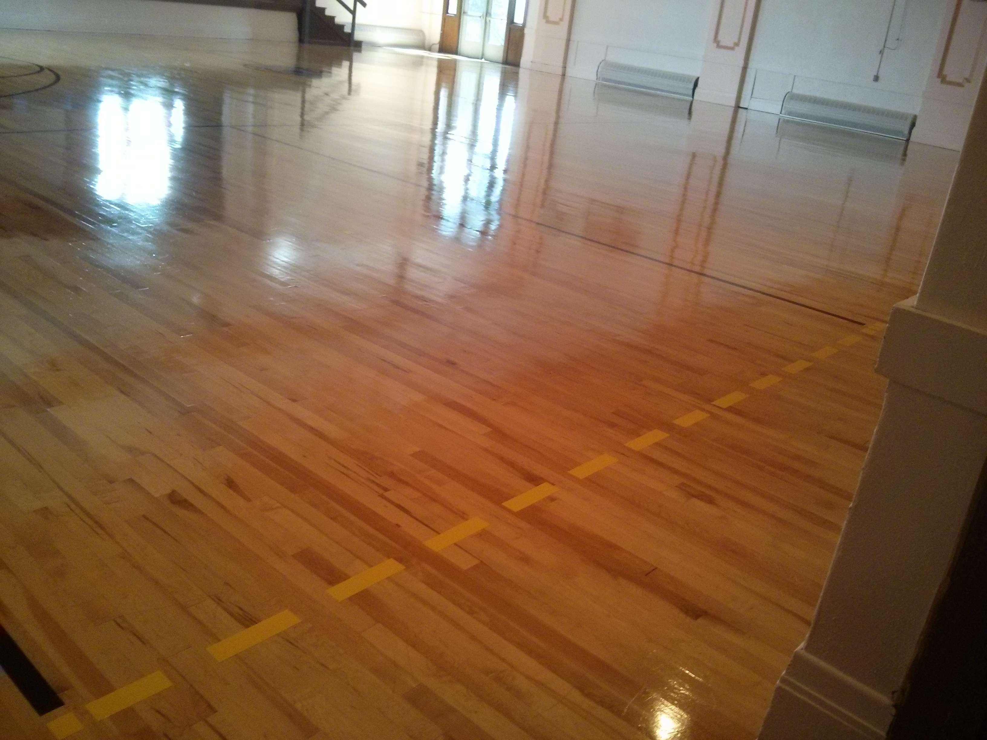 Wood Gym Floor Clear Coatings Services Job In Minneapolis