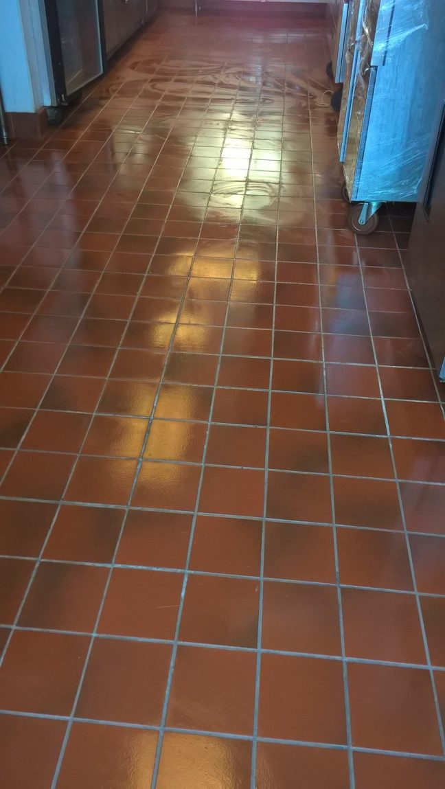 Commercial Kitchen Quarry Floor Tile and Grout Cleaning in Minneapolis
