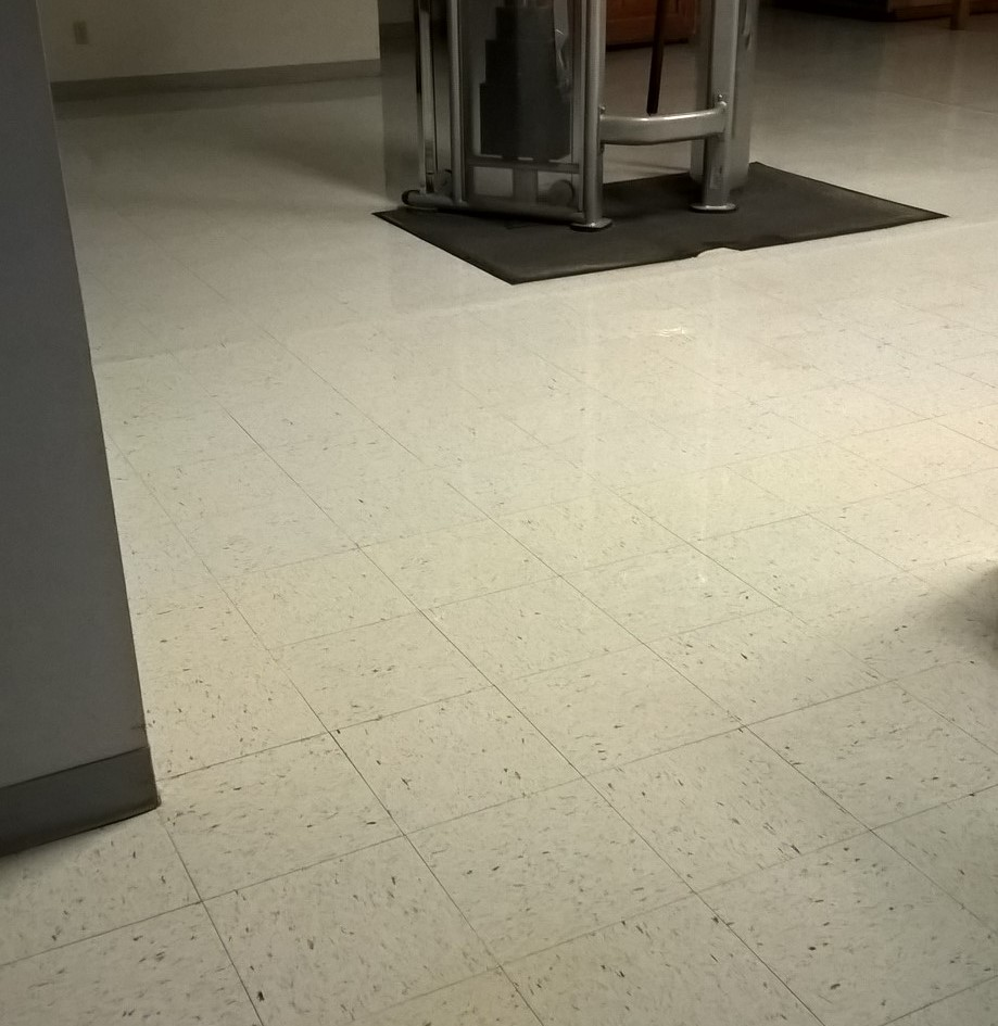 Deep clean vinyl floor and clear coat job in st paul mn rust stains were completely embedded to the bottom of the vct floor tile dailygadgetfo Choice Image