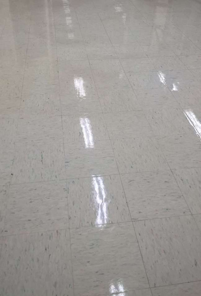 Old VCT Floor Scrub and ReCoat in Edina MN