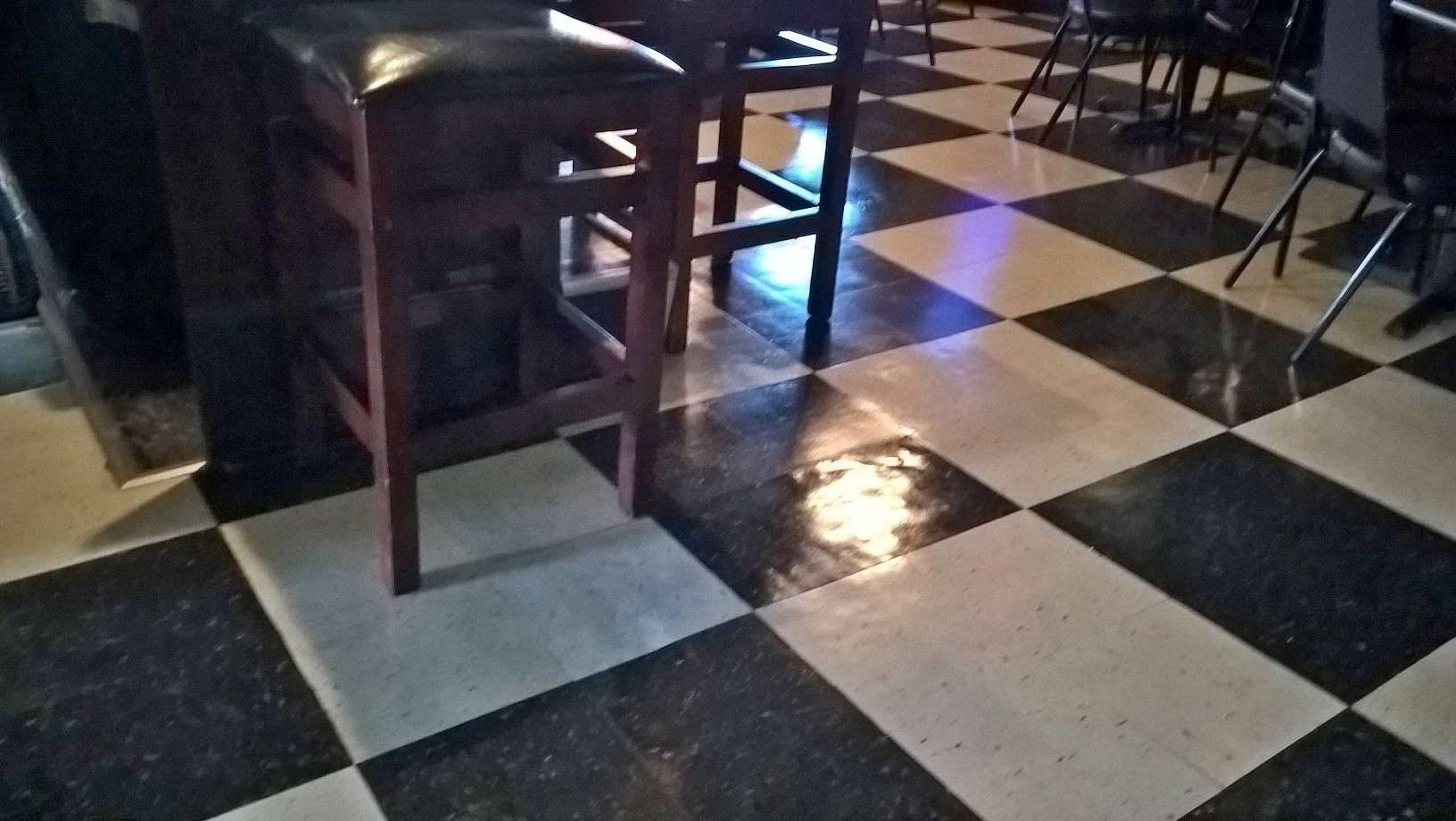 Old VCT Floor Scrub and Clear Coat Finish in St Michael MN Bar