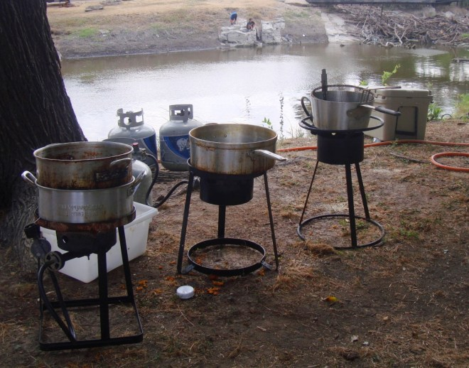 Big Kettles Powered By Propane Are Set Up For The Waco Boys Fish Fry