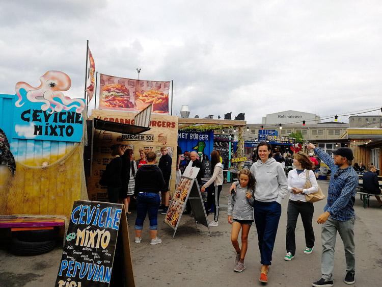 Enjoying Reffen street food market, Copenhagen.