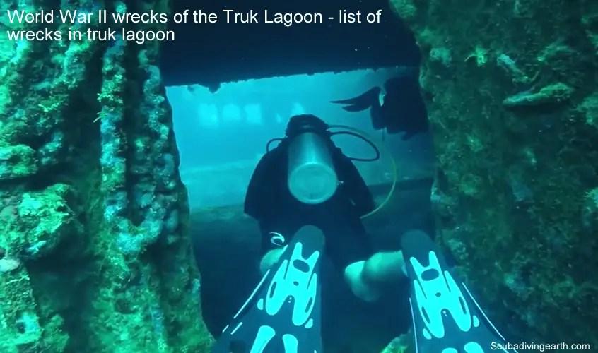 World War II wrecks of the Truk Lagoon - list of wrecks in truk lagoon