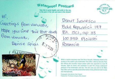 Razglednica poslana iz podvodnog poštanskog ureda u Vanuatuu