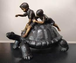 Children and Tortoise Bronze Sculpture