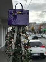 Purple Birking Bag Sculpture