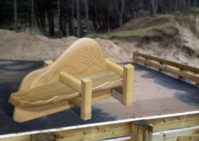 Artist's visual of Roseisle Beach feature bench