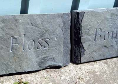 hand-carved pet dog memorials stone Floss and Bonzo