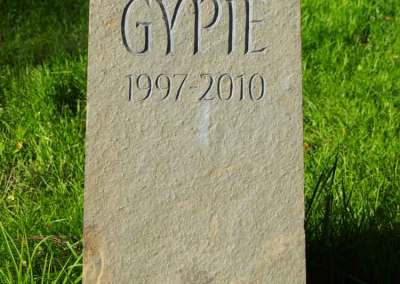 hand-carved pet dog memorial Caithness stone Gypie