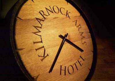 hand-carved lettering whisky barrel clock pub sign Kilmarnock Arms