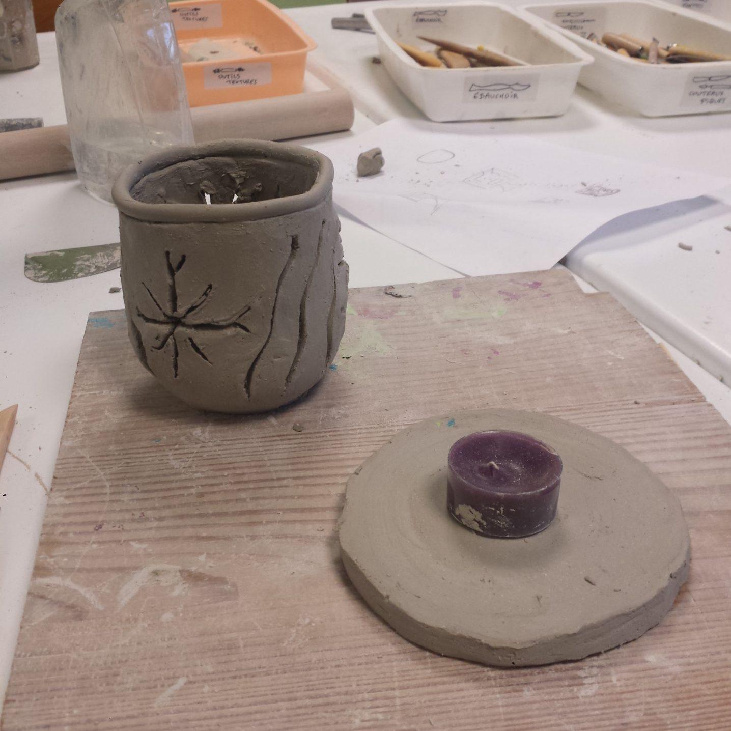 poterie enfant : un photophore