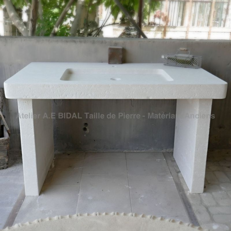 provencal sink hand carved in a white