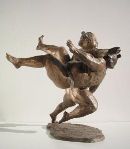 Linea di confine cm.47x36x23 anno 2006 - statue statuette e sculture di bronzo in vendita a prezzi speciali dall'artista scultore