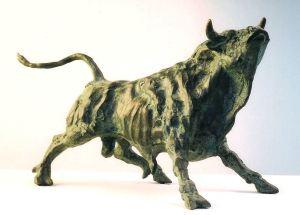 ''Toro che fiuta l'aria'' cm.18x29x20 anno 1994 - scultura cavallo, statua cavallo, statue di animali, sculture di animali, statue di cavalli, statue animali per giardino